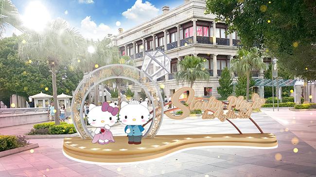 在美利樓見證Hello Kitty與Dear Daniel愛情故事的延續,並於地標式的巨形鑽石戒指裝置拍照留念。