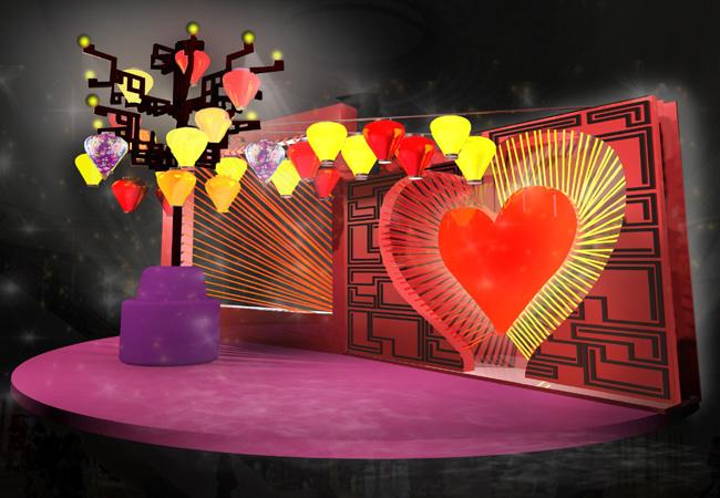 領展大型旗艦商場黃大仙中心特別舉行「燈月牽緣」推廣活動,糅合中秋花燈及月老紅繩元素,設有花燈及紅線主題的拍照區