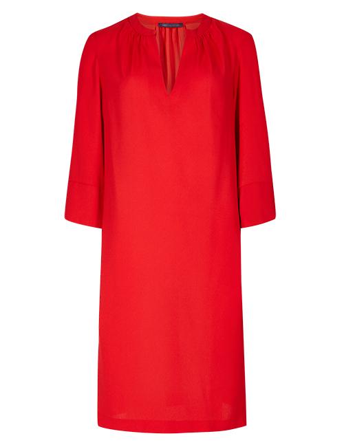 大紅開領連身裙 $299