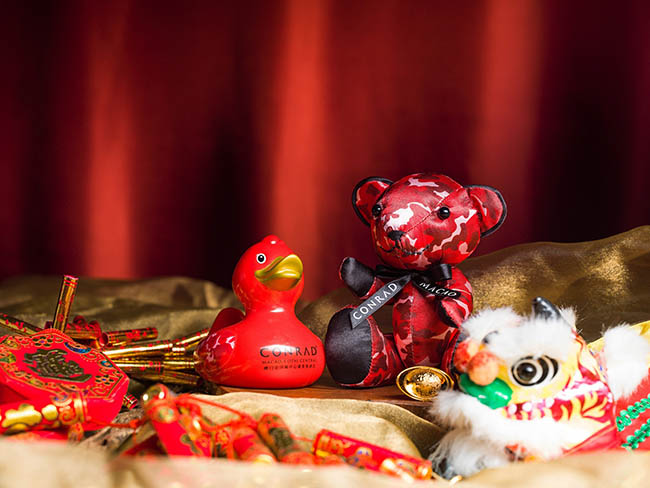 2019 Conrad Chinese New Year Red Camouflage bear and duck