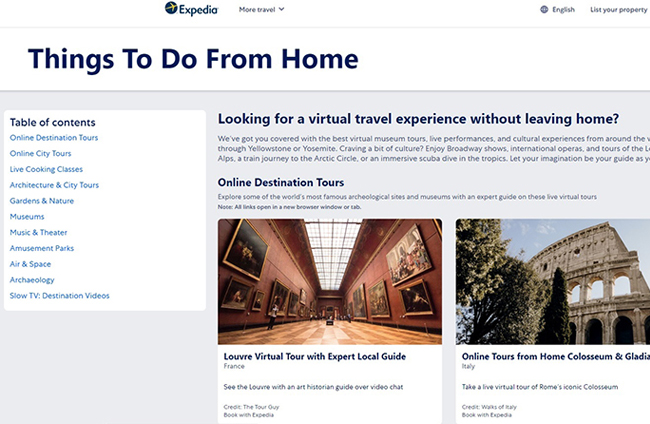 Expedia 推出Things To Do From Home旅遊活動