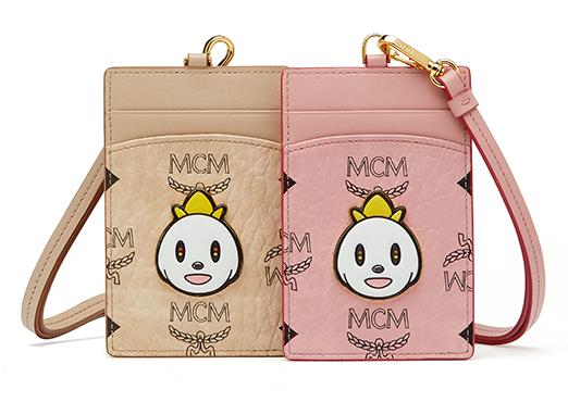 [HK$1,700]MCM X EDDIE KANG LOVELESS CARD CASE with strap in visetos_BEIGE&SOFTPINK