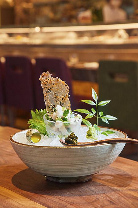 Turbot taretare with white ponzu, shiso leaves, avocado & wasabi (1)